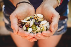 Handful of nuts and seeds and dried fruit